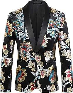 Pizoff Mens Luxury Flower Gilding Regular Fit Blazer Velvet Suit