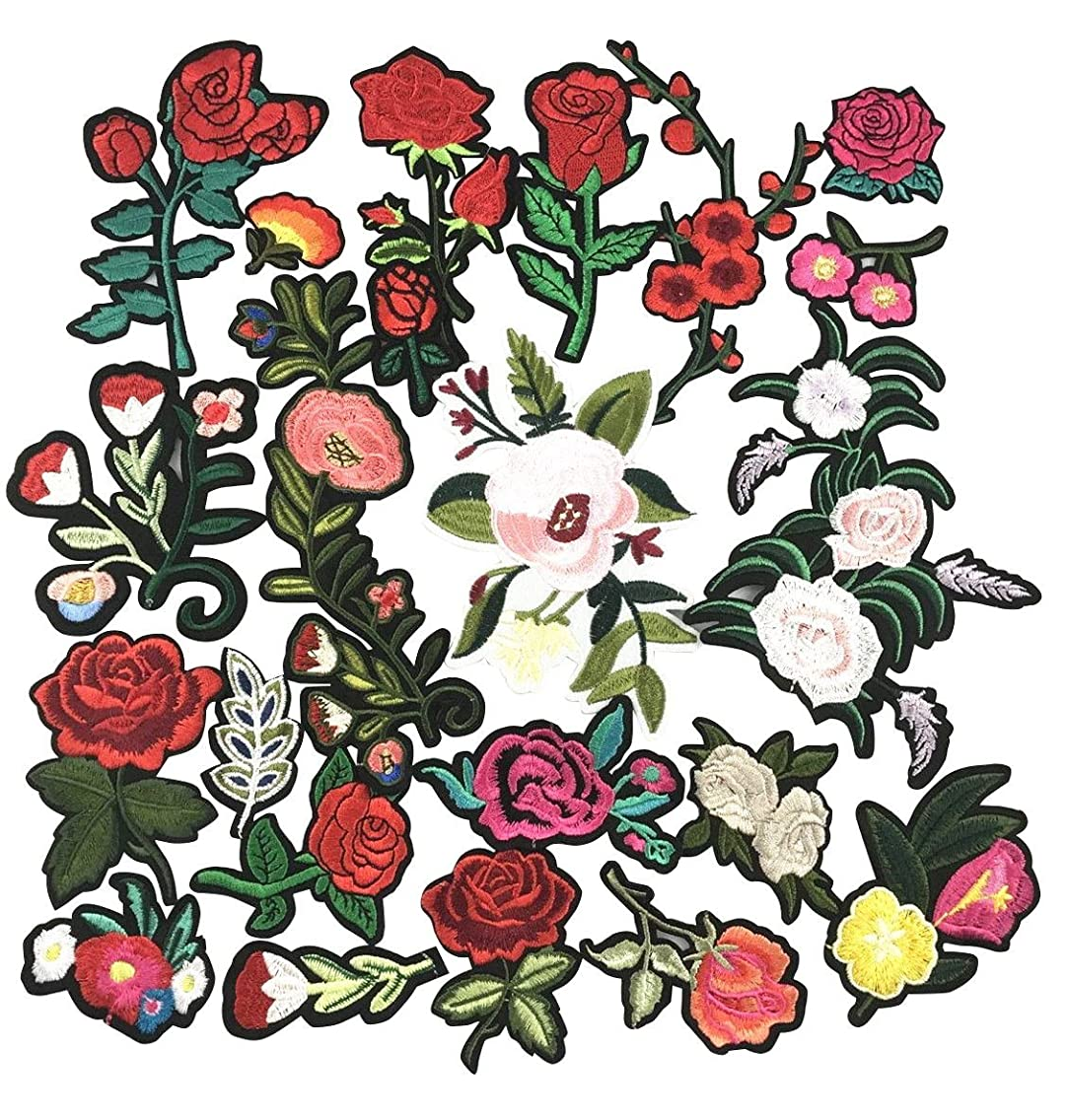 YAKA 22pcs Assorted Iron Embroidery Patches Flower Kits, Embroidery Applique Sewing for Jackets Dress Hat Vest Jeans Backpacks Clothes, Decoration Applique Patch DIY Accessory Flower