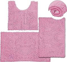 3 Pieces Bathroom Rugs, Anti-Slip Chenille Bath Rug, Super Absorbent Luxury Shaggy Bath Mats Set, Perfect Plush Carpet for...