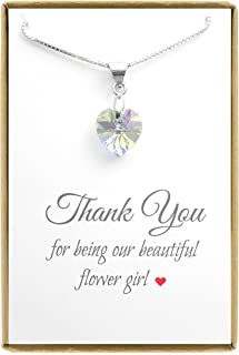 Tiny Clear Crystal Heart Necklace, Flower Girl Necklace, 14 inches with 2 inches Extender