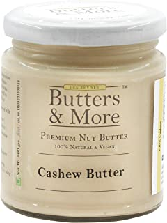 Butters & More Vegan Natural Cashew Butter (200G) Unsweetened Single Ingredient Creamy Nut Butter. Keto & Diabetic Friendly.