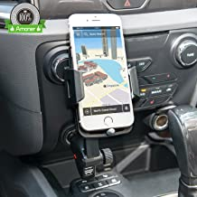 3-in-1 Multifunctional Car Mount + Car Charger + Cigarette Lighter Power Adapter, Amoner Universal Car Mount with Dual USB 3.1A Phone Charger for iPhone Galaxy and More Smartphones (Black Gray)