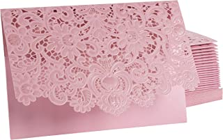 24-Pack Wedding Invitation Cards - Laser Cut Floral Design Invitation Pockets for Bridal Showers, Engagement Parties, Includes Covers, Blank Inserts, Envelopes, Pink, 5 x 7.25 Inches
