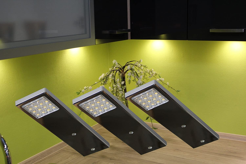 LED Unterbauleuchten 3-er Set   Chrom   Lichtfarbe warm wei   Art. 2070-3   Mbelbeleuchtung   Design Beleuchtung   Küchenbeleuchtung   Messebau   Ladenbau   Komplettset mit LED Netzteil Schalter Steckverbindung und Befestigungsmaterial