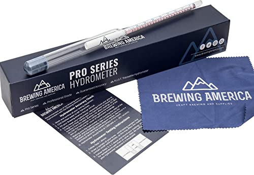 American-Made Specific Gravity Hydrometer Alcohol ABV Tester - Pro Series Fermentation Testing Homebrew: Beer, Wine, ...