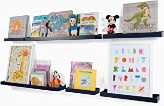 Wallniture Philly Set of 6 Varying Sizes Floating Shelves Trays Bookshelves and Display Bookcase - Modern Wood Shelving for Kids Room and Nursery - Wall Mounted Storage Bathroom Shelf (Navy)