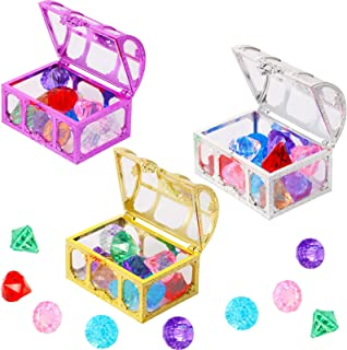 Diving Gem Pool Toy Set, 36 Colorful Diamonds Summer Swimming Gem with 3 Transparent Treasure Pirate Boxes Throw Toy Set f...