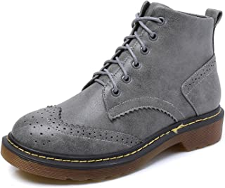 Smilun Lady¡¯s Ankle Boot Classic 6 Eye Brogues High-Top Shoes Round Toe