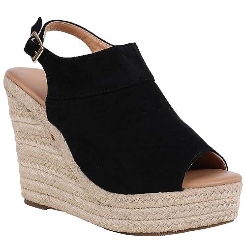 991e0b58b78e7 Syktkmx Womens Espadrille Platform Wedge Heel Peep Toe Ankle Strap  Slingback Suede Sandals
