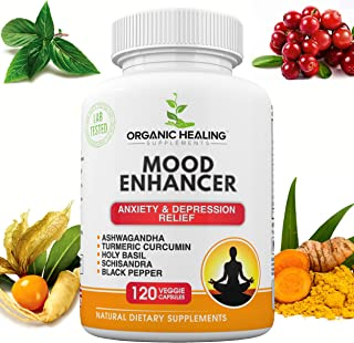 All Natural Mood Enhancer | Anxiety Relief | Depression Relief | Ashwagandha, Turmeric Curcumin, Holy Basil, Schisandra, a...