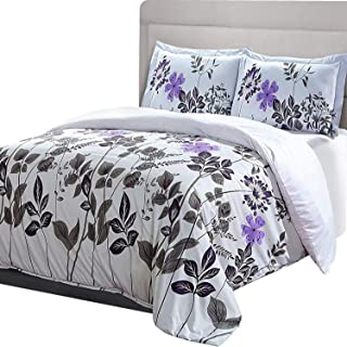 Utopia Bedding 3pc Printed Duvet Cover Set with 2 Pillow Shams (Floral, Stripe) (Queen, Floral)
