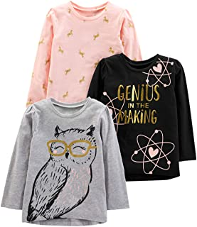 Simple Joys Carter's Toddler Girls' 3-Pack Graphic Long-Sleeve Tees