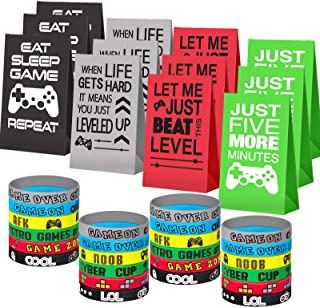 Game On Party Supplies Favors 24 Pieces Video Game Goodie Bags and 24 Pieces Video Game Bracelets Wristbands For Kids Birt...
