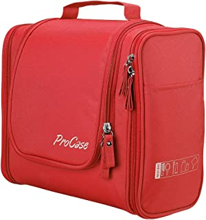 (red) - ProCase Toiletry Bag with Hanging Hook, Organiser for Travel Accessories, Makeup, Shampoo, Cosmetic, Personal Items, Bathroom Storage with Hanging, Large, Red
