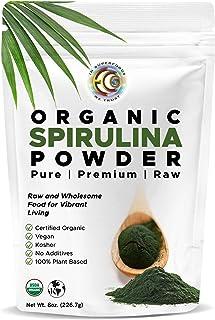 Earth Circle Organics | Organic Spirulina Powder, Kosher, Raw and Non-Irradiated | Pure Vegan Protein | Premium Superfood,...