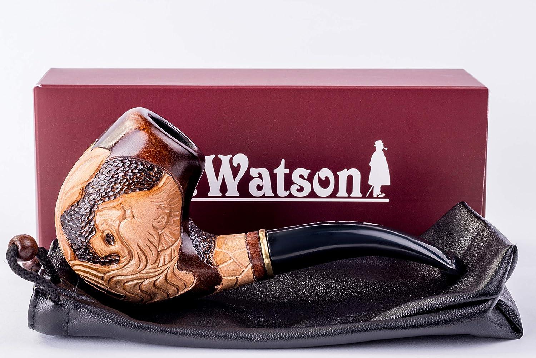 kommt mit Beutel Anker Tabakpfeife aus Holz Watson verpackt Dr geeignet f/ür 9mm Filter handgeschnitzt