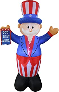 BZB Goods 6 Foot Tall Patriotic Independence Day 4th of July Inflatable Uncle Sam with God Bless America Flag LED Blow Up Lighted Decor Indoor Outdoor Holiday Art Decor Decorations