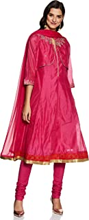 Rangriti Women's Synthetic a line Salwar Suit Set (RSKSKD1500_Pink_34)