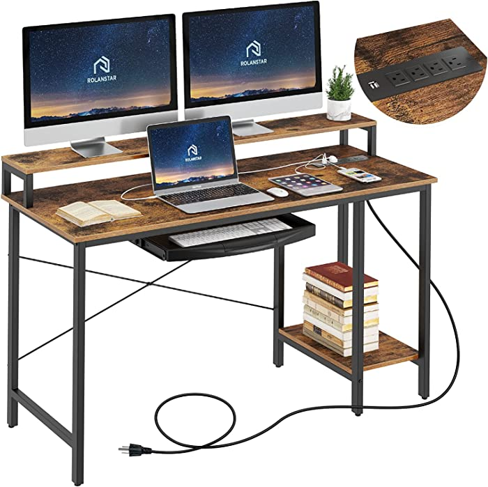 """Rolanstar Computer Desk with Power Outlet and Monitor Stand Shelf, 55"""" Home Office PC Desk with Keyboard Tray and USB Ports Charging Station, Desktop Table,Stable Metal Frame Workstation, Rustic Brown"""