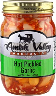 Amish Valley Products Country Pickled Garlic Sweet or Hot Flavor 15 oz Glass Jar (Hot, 1 - 15oz JAR)