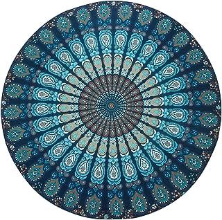 Resulzon Indian Mandala Hawaii Sunproof Round Beach Throw Tapestry Hippy Boho Gypsy Tablecloth Beach Shawl 60 Inches - Navy Blue