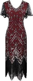 YENMILL Women's 1920s Gatsby Inspired Sequin Beads Fringe Flapper Cocktail Roarings 20s Dress