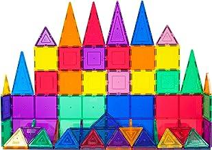 PicassoTiles 60 Piece Set 60pcs Magnet Building Tiles Clear Magnetic 3D Building Blocks..