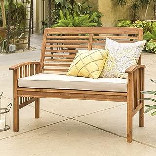 Walker Edison Furniture Company Solid Acacia Wood Patio Love seat - Brown