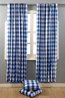 Farmhouse Curtain in Gingham Plaid Check Fabric 50x84 Navy & White, Cotton Curtains, 2 Panels Curtain,Tab Top Curtains, Room Darkening Drapes, Curtains for Bedroom, Curtains for Living Room, Set of 2