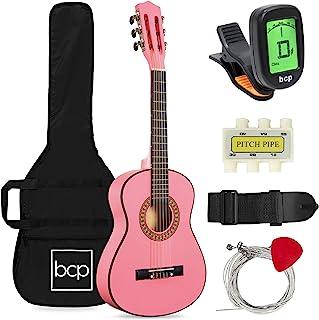 بهترین محصولات انتخابی 30in Kids Classical Acoustic Guitar Beginners Set w / Carry Bag، Picks، E-tuner، Strap - Pink