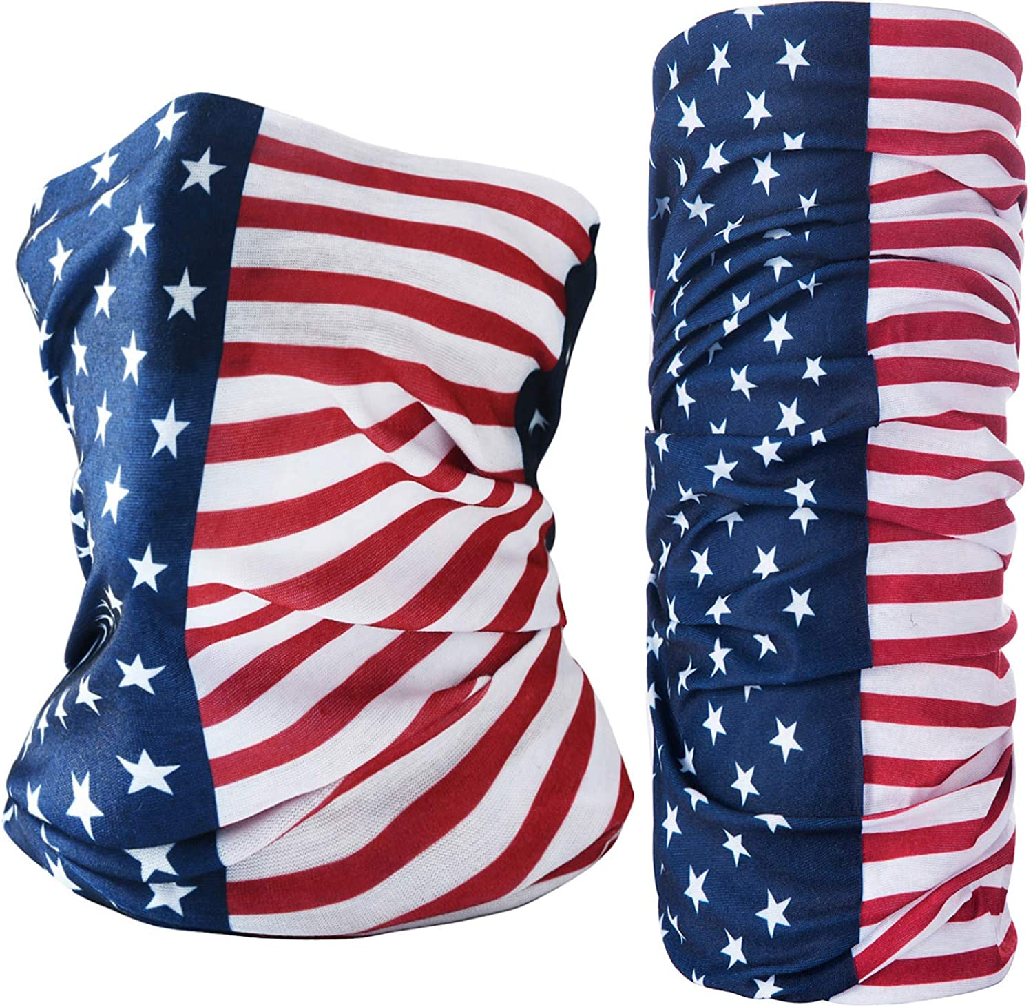 Covering Nose and Mouth Homeflago 2 Pieces American Flag Neck Gaiter Reusable Washable