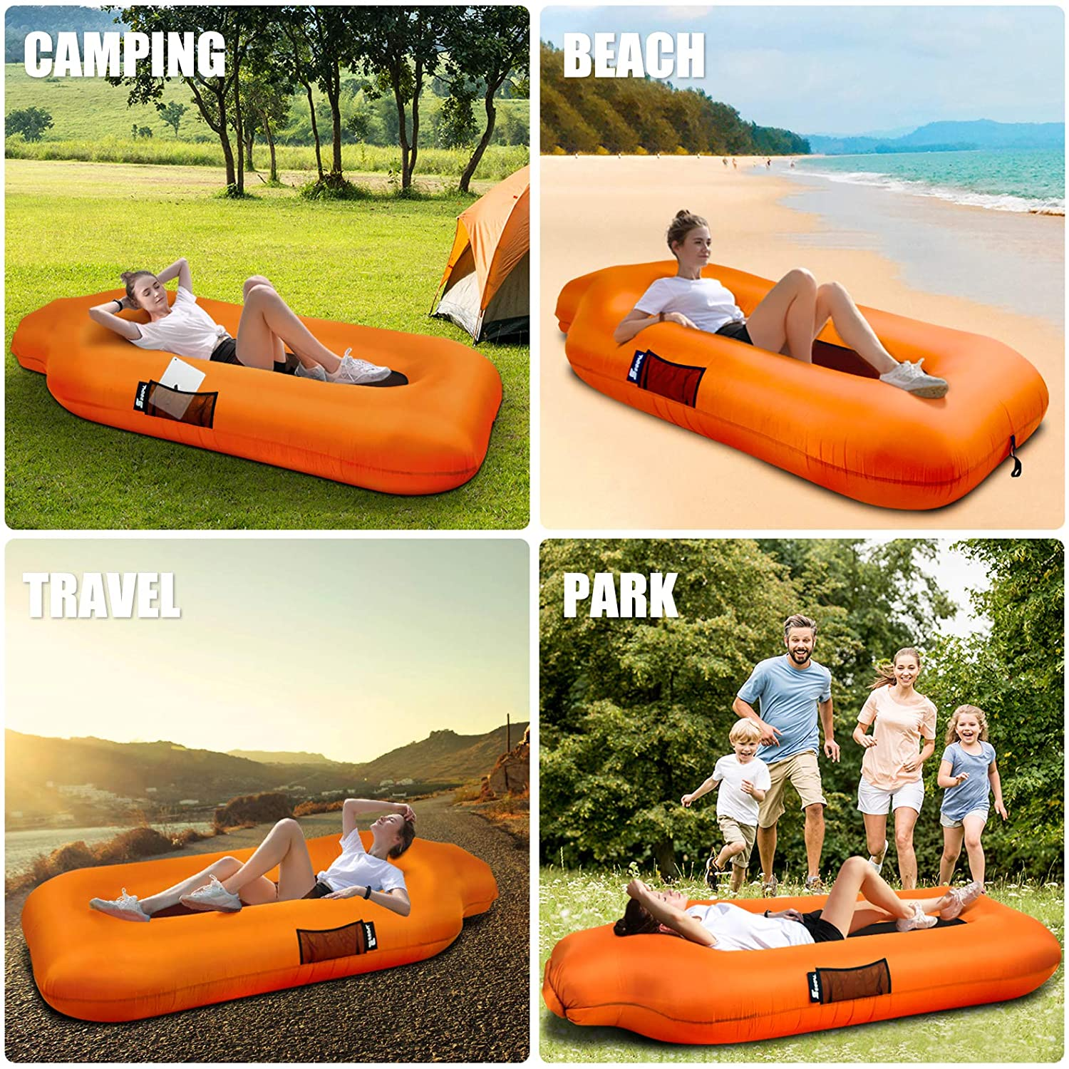 SEGOAL Inflatable Lounger Beach Bed Camping Chair Air Sofa Couch Hammock with Pillow Portable Waterproof Anti-Air Leaking for Camping Hiking Travel Beach Picnic Lakeside No Pump Required