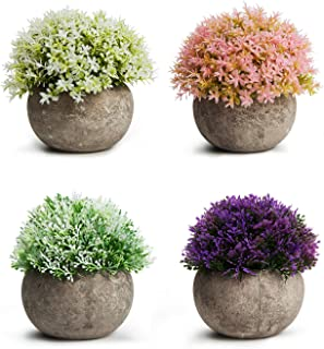 MoonLa Artificial Plants Potted Faux Fake Mini Plant Colorful Flower Topiary Shrubs in Gray Pot for Bathroom Home House Decor (Set of 4)
