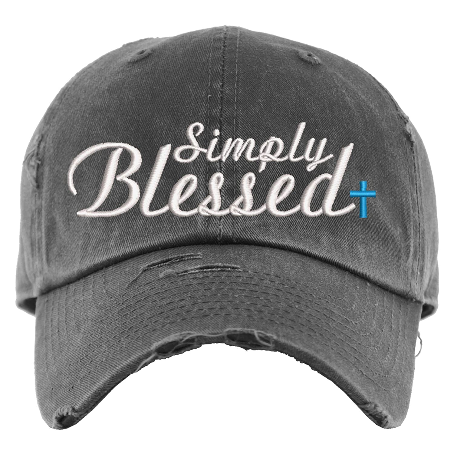 Max 56% OFF Simply Bombing new work Blessed Hat Distressed Baseball E Cap Ponytail OR