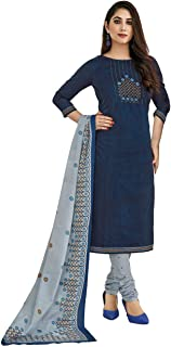 Miraan Women's Cotton Unstitched Dress Material (SGPRI1517 Blue Free Size)