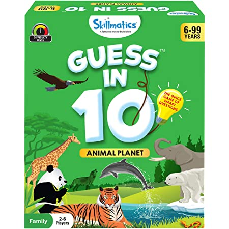 Skillmatics Guess in 10 Animal Planet | Card Game of Smart Questions | General Knowledge for Kids, Adults and Families | Ages 6-99