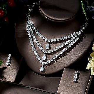 قلادة فاخرة من زركونيا مكعب 3 طبقات عالية الجودة بمشبك CZ مجوهرات للنساء إكسسوارات الزفاف Makfacp (اللون: مطلي بالبلاتين)