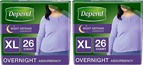 Depend Night Defense Incontinence Underwear for Women, Disposable, Overnight, XL, Blush, 26 Count (2 Pack(26 Count))