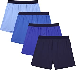 INNERSY Men's Boxers Shorts Loose Fit Button Open Fly Cotton Underwear Pack of 4
