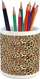 Ambesonne Brown Pencil Pen Holder, Leopard Print Animal Skin Digital Printed Wild Safari Themed Spotted Pattern Art, Ceramic Pencil Pen Holder for Desk Office Accessory, 3.6