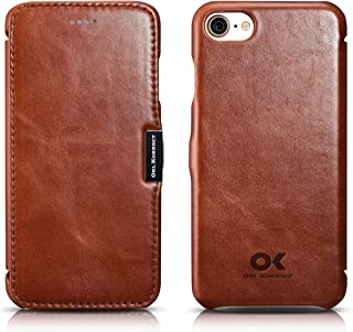 Orl Korrect: iPhone 8 iPhone 7 Luxury Genuine Leather Handmade Vintage Series Side Open Ultra-Thin Slim Fit [Magnetic Closure] Folio Flip Protective Case, Fit for iPhone 8/7 (Brown)