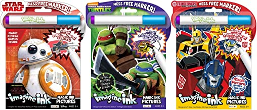 Bundle of 3 Imagine Ink Magic Pictures Activity Books – Star Wars VIII The Last Jedi, Teenage Mutant Ninja Turtles, and Transformers: Robots in Disguise