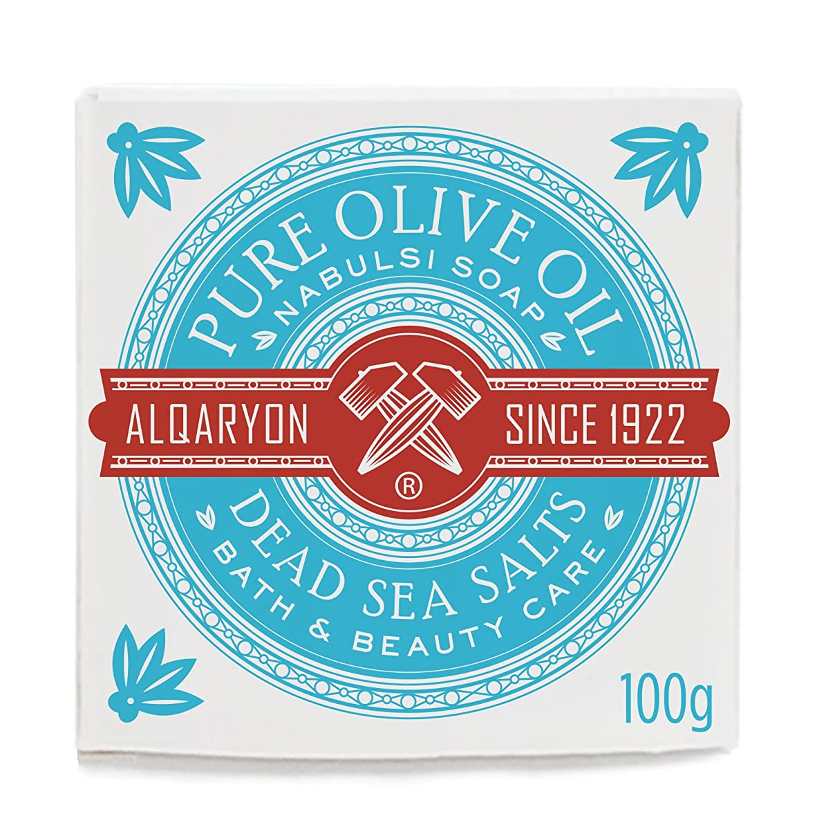 アーク人に関する限りリングAlqaryon Dead Sea Salts & Olive Oil Bar Soap, Pack of 4 Bars 100g- Alqaryonの死海で取れる塩&オリーブオイル ソープ、バス & ビューティー ケア、100gの石鹸4個のパック