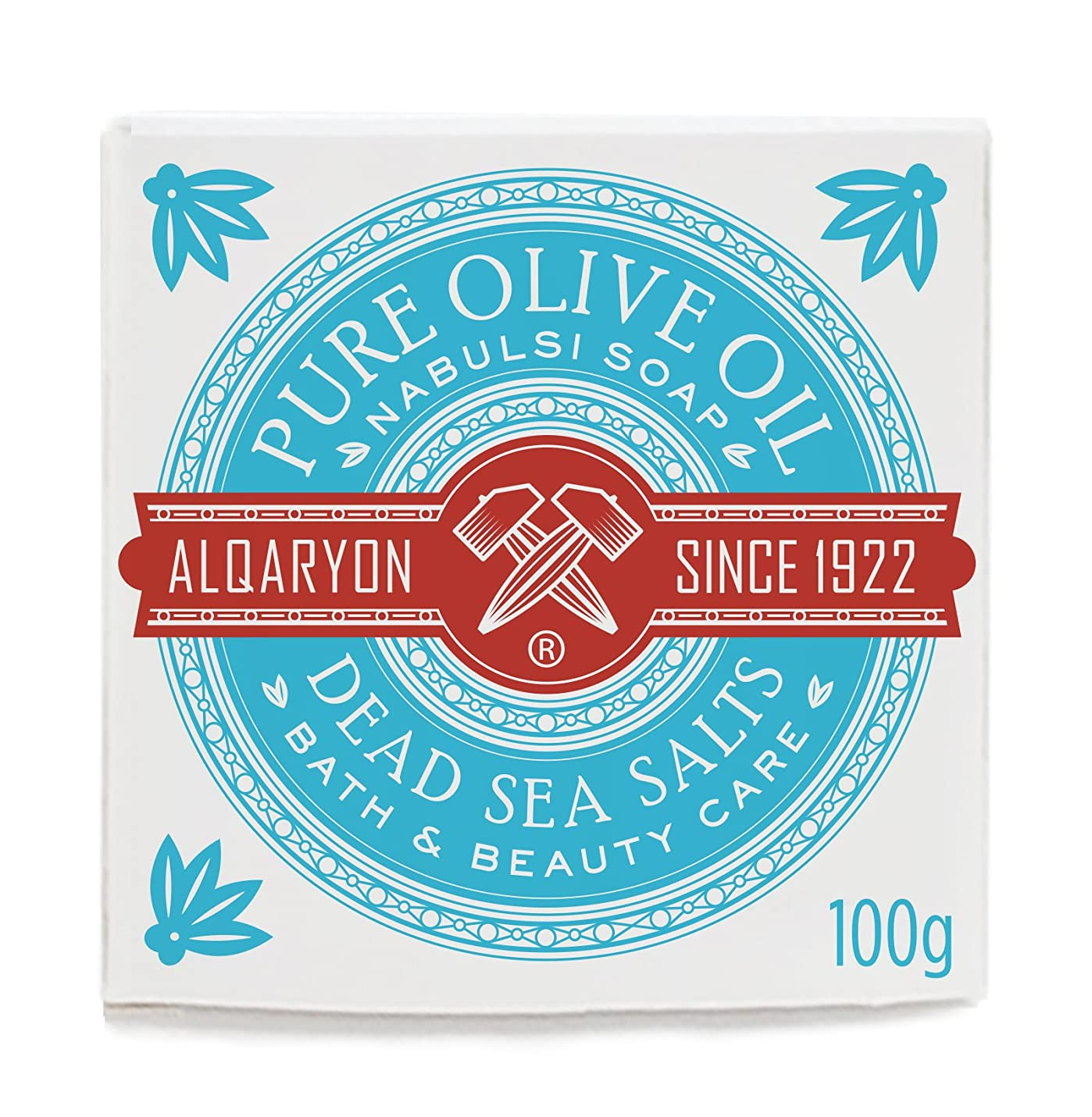 カテゴリー世代ミットAlqaryon Dead Sea Salts & Olive Oil Bar Soap, Pack of 4 Bars 100g- Alqaryonの死海で取れる塩&オリーブオイル ソープ、バス & ビューティー ケア、100gの石鹸4個のパック
