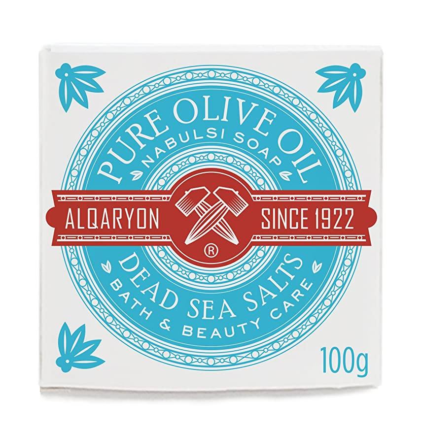 百年浮く懐疑論Alqaryon Dead Sea Salts & Olive Oil Bar Soap, Pack of 4 Bars 100g- Alqaryonの死海で取れる塩&オリーブオイル ソープ、バス & ビューティー ケア、100gの石鹸4個のパック