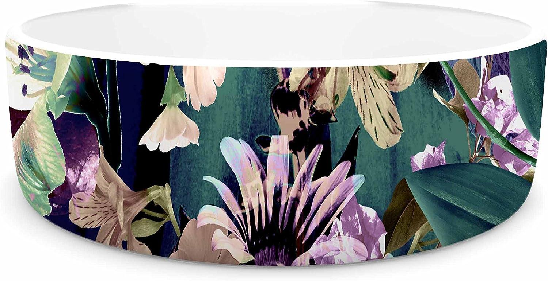 KESS InHouse Victoria Krupp Midnight Garden Black Multicolor Digital Pet Bowl, 7  Diameter