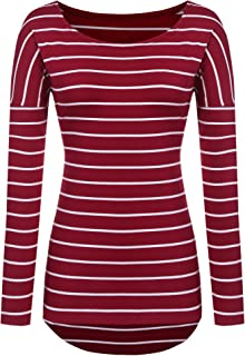 Best burgundy and white striped shirt womens Reviews