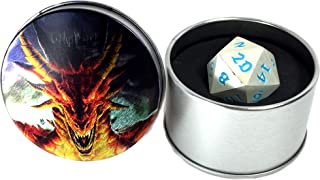 Druid Forge 35mm d20 Dragon Egg dice - Moonlight Blue - Brushed Silver with Bright Blue Numbers