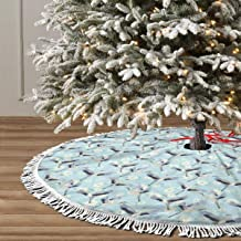 Uanlic Christmas Tree Skirt Holiday Decoations Xmas Tree Home Decor Socks Ornaments 48 inch, Repetitive Free Flying Crane White Innocent Hand Drawn Flowers