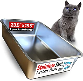 iPrimio Ultimate Stainless Steel Cat XL Litter Box - Never Absorbs Odor, Stains, or Rusts - No Residue Build Up - Easy Cle...